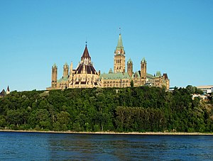 Parliament Hill - Parliament Hill, as viewed from Gatineau at sunset on a July 2014 summer's day