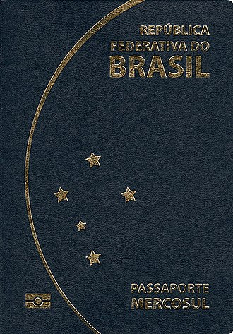 Brazilian passport - Front cover of a contemporary Brazilian biometric passport introduced in 2015.