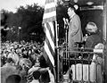 Pat & Dick Nixon in Ann Arbor, on a whistle-stop campaign tour, October 15, 1952. (8295115760).jpg