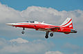 Patrouille Suisse Northrop F-5E Tiger II (J-3082) arrives RIAT Fairford 10thJuly2014 arp.jpg
