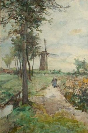 Paul Gabriël - Polder Landscape, watercolor