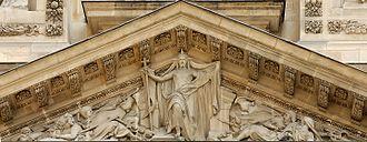 Auguste-Hyacinthe Debay - Victorious Christ, pediment of the Saint-Étienne-du-Mont church in Paris