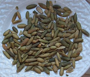 Pumpkin seed - Pumpkin seeds after shelling, roasting, and salting