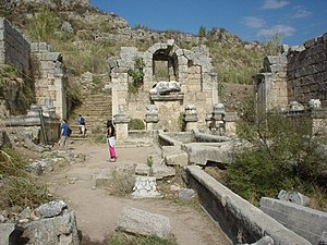 Ruins of the main street in Perga, capital of Pamphylia