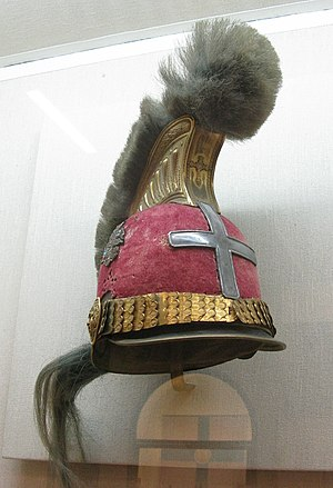 1st Regiment Greek Light Infantry - Theodoros Kolokotronis' regimental helmet (the cross is a later personal addition)