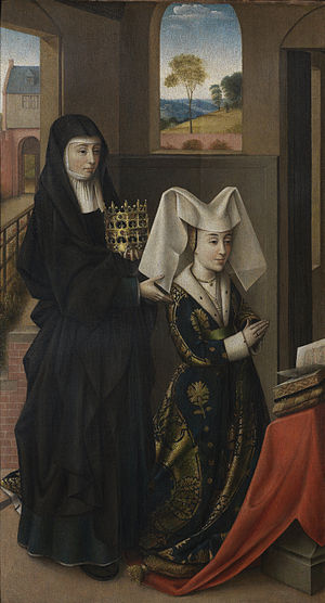 Petrus Christus - Isabel of Portugal with St. Elizabeth, 1457–60. Groeningemuseum, Bruges