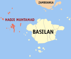 Map of Basilan showing the location of Hadji Muhtamad