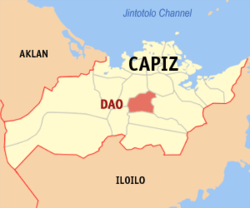 Map of Capiz with Dao highlighted
