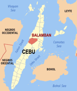 Map of Cebu showing the location of Balambán.