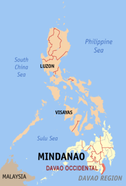 Mapa iti Filipinas a mangipakita ti pakasarakan iti Davao Occidental.