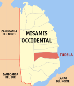 Mapa ti Misamis Occidental a mangipakita ti lokasion ti Tudela, Misamis Occidental.