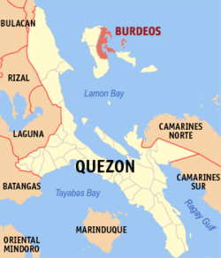 Map of Quezon showing the location of Burdeos