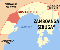 Map of Zamboanga Sibugay with Roseller Lim highlighted