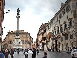 Column of the Immaculate Conception, Rome - Column in front of the Palazzo di Propaganda Fide, with Spanish embassy to Vatican at right.