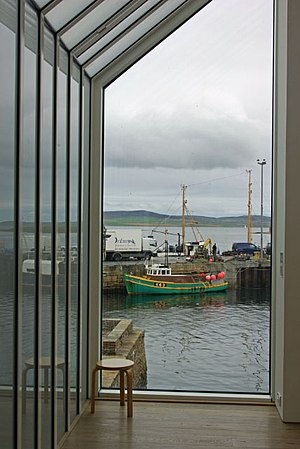 Pier Arts Centre - Looking out from the Arts Centre to the traditional fishing activities on the pier