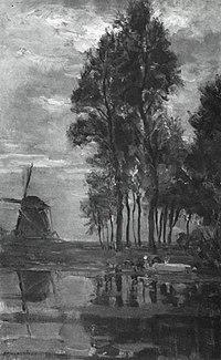 Piet Mondriaan - Windmill near tall trees with woman at the wash stoop - A423 - Piet Mondrian, catalogue raisonné.jpg