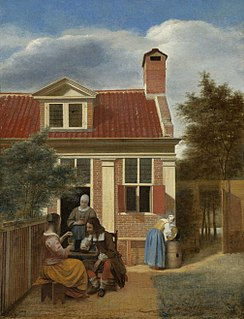<i>Company in a courtyard behind a house</i> painting by Pieter de Hooch