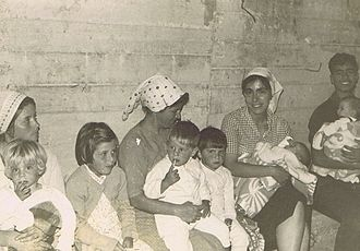 Six-Day War - People in a bomb shelter at Kfar Maimon