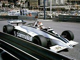 Nelson Piquet driving his Brabham BT49 at the 1981 Monaco Grand Prix.