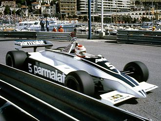 Nelson Piquet - Piquet driving the Cosworth powered Brabham BT49C at the 1981 Monaco Grand Prix.