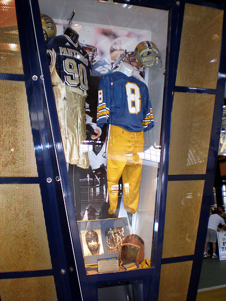Uniform from 2005 season (left) and the era from 1973-96 (right) on display at Heinz Field PittkioskGreatHall.jpg
