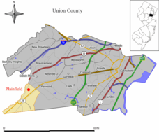 Map of Plainfield in Union County