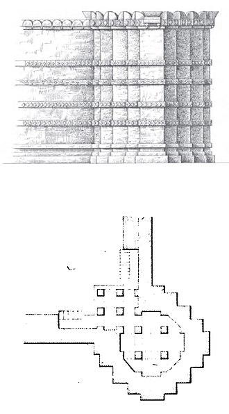 Zinzuwada - Plan and elevation of corner tower of the fort of Zinzuwada