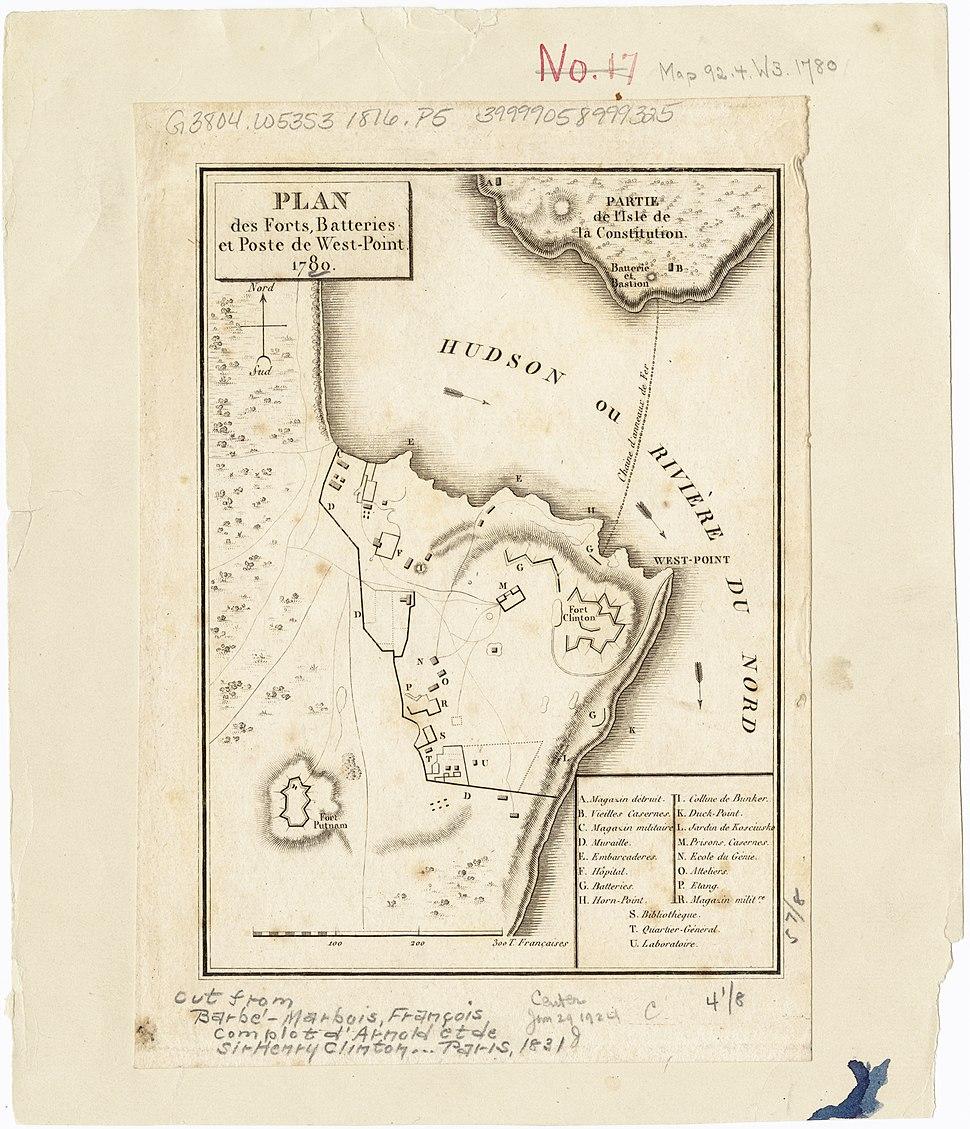 Plan des forts, batteries et poste de West-Point, 1780 (2674338525)