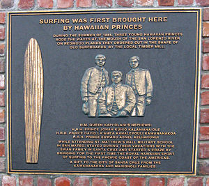 Santa Cruz Surfing Museum - Plaque honoring 1885 Hawaiian surfers