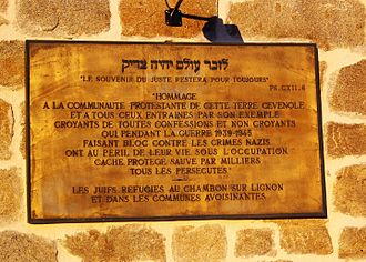 André and Magda Trocmé - Plaque commemorating the Trocmé's rescue of the Jews in Le Chambon-sur-Lignon