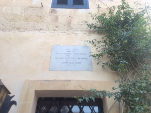 Gauci Tower - Plaque on the house adjacent to the tower