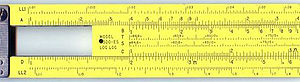 Slide rule - This slide rule is positioned to yield several values: From C scale to D scale (multiply by 2), from D scale to C scale (divide by 2), A and B scales (multiply and divide by 4), A and D scales (squares and square roots).