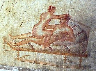 "Squatting position - The ""riding"" position (Mulier equitans) was popular in ancient Roman erotic art (wall painting from Pompeii, 62–79 BC"