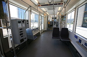 The interior of a Portland Streetcar.