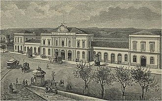 Campanhã railway station - A zincography design of the Campanhã station in 1835