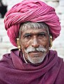 Portrait of an old man with a pink turban, Rajasthan (6358879131).jpg
