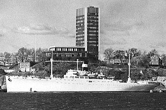 SS Stevens - Image: Postcard SS Stevens and Stevens Center