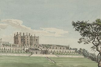 Powis Castle - Powis Castle and gardens from a watercolour in Thomas Pennant's 'A tour In Wales', c.1782