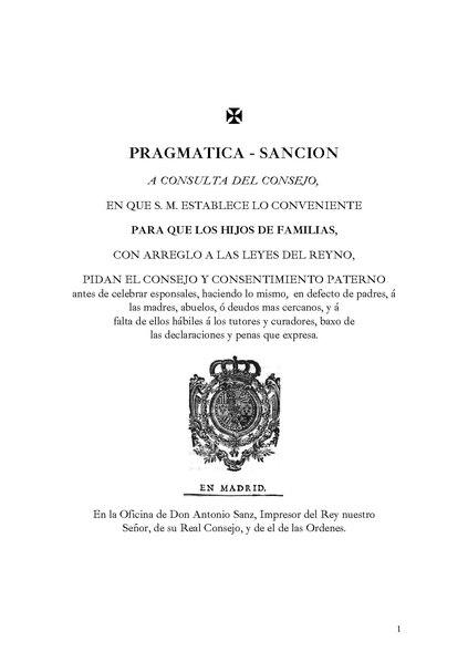 File:Pragmática Sanción a consulta del Consejo, en que S. M. establece lo conviente para que los hijos de familias,1776.pdf