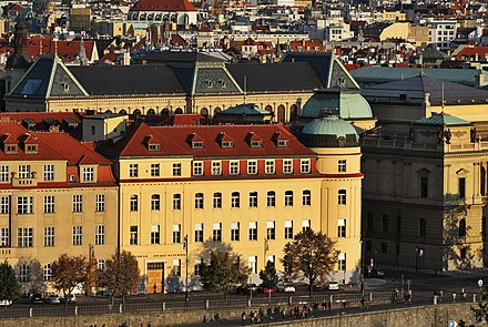 Main building of the Prague Conservatory viewed from Letna hill Praha Konzervator z Letne.jpg