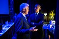 President Barack Obama speaks with former President Bill Clinton backstage prior to delivering remarks during the Clinton Global Initiative in New York.jpg