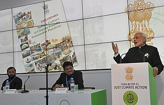 Premiership of Narendra Modi - Modi(right) at CoP21 Climate Conference, in Paris, announcing the founding of an International Solar Alliance (ISA). November 2015.