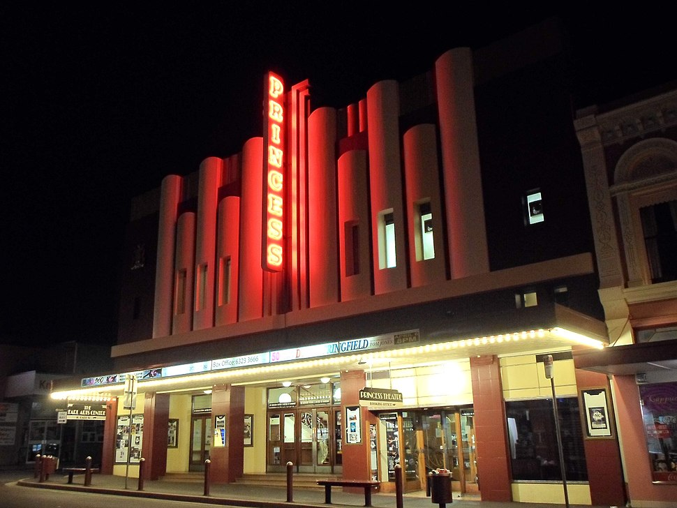 Princess Theatre at night, Launceston
