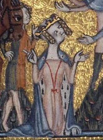 1300–1400 in European fashion - Mary de Bohun wears an ermine-lined mantle tied with red strings. Her servant wears a mi-parti tunic. From an English psalter, 1380–85