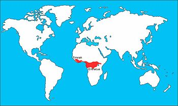 English: Range map for (Psittacus erithacus) A...