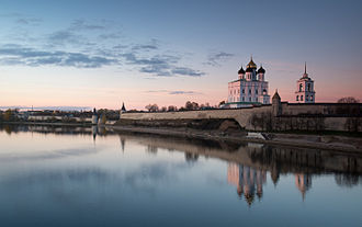 Pskov - Pskov Krom, view from the Velikaya River