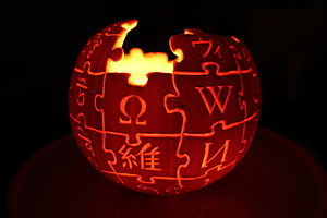 Jack-o'-lantern - A jack-o'-lantern in the shape of the Wikipedia logo.