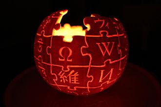 Jack-o'-lantern - A jack-o'-lantern in the shape of the Wikipedia logo.