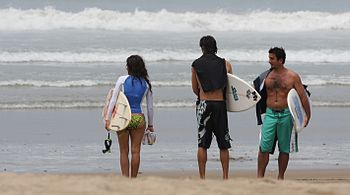Punta Carnero Beach Three Surfers Ecuador South America