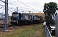 QR loco 1648 and a 1720 class loco haul a northbound goods train at Caboolture, ~1989.jpg